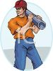 A Construction Worker Carrying A Section Of Pipe Or Conduit clipart