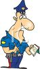 An Angry Looking Cartoon Police Officer Writing A Citation clipart