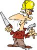 Builder Holding A Hammer And Saw clipart