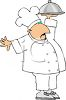 Chef Holding Covered Serving Platter clipart