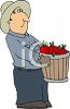 Farmer Holding Basket Of Apples clipart