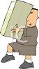Delivery Man Carrying Large Package clipart