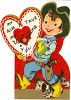 Vintage Valentine Card Showing a Little Boy Cowboy clipart