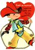 Vintage Valentine Card Showing a Little Cowpoke clipart
