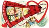 Vintage Valentine Card Showing Kids in a Rocket Ship clipart