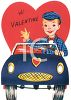 Vintage Valentine Card Showing a Boy Driving a Sports Car clipart