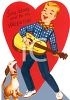 Vintage Valentine Card Showing a Rock-a-Billy Singer clipart