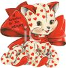 Vintage Valentine Card Showing a Stuffed Kitty with Hearts clipart
