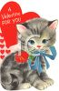 Vintage Valentine Card Showing a Striped Kitten clipart