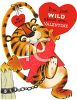 Vintage Valentine Card Showing a Chained Tiger clipart