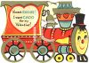 Vintage Valentine Card Showing a Choo-Choo Train clipart