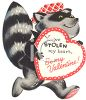 Vintage Valentine Card Showing a Bandit Raccoon clipart