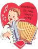 Vintage Valentine Card Showing a Boy Playing an Accordian clipart