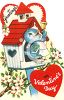 Vintage Valentine Card Showing a Bluebird in a Birdhouse clipart
