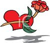 Red Rose and a Red Heart clipart