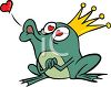 Crowned Frog Prince Blowing a Kiss clipart