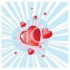Sparkling Hearts on a Burst Background clipart