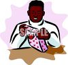 African American Boy Wrapping a Valentine Gift clipart