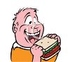 Chubby Kid Eating a Sandwich clipart