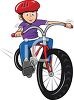Boy Riding a Bike Wearing a Helmet clipart