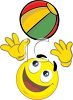 Cartoon of a Happy Face Playing with a Beach Ball clipart