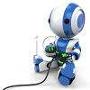 3D Robot Kid Playing a Video Game clipart