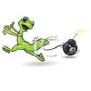 Gecko Lizard Running From a Bomb clipart