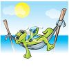 Hawaiian Gecko Lizard in a Hammock by the Ocean clipart