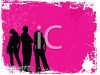 Silhouette of Three People on a Grunge Background clipart