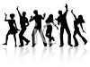 Silhouette of Young People Dancing clipart
