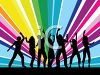 Silhouette of Young People Dancing on a Colorful Background clipart