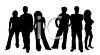 Silhouette of a Group of Young Adults clipart