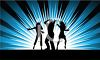 Silhouette of Friends Dancing on a Burst Background clipart