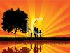 Silhouette of a Family Walking by a Pond at Sunset clipart