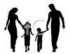 Silhouette of a Family Holding Hands clipart