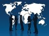 Silhouette of Business People and a World Map clipart