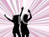 Silhouetted Girls Dancing clipart