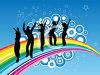 Silhouette of Young People Dancing on a Rainbow clipart