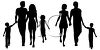 Two Families Walking Silhouette clipart