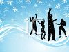 Silhouette of a Group of Friends Playing in the Snow clipart