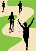 Silhouette of People Jogging on a Path in a Park clipart