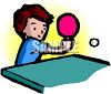 Child, a boy, playing table tennis or ping pong clipart