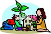 Little boy and girl playing house clipart