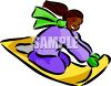 Girl on a sled in the winter clipart