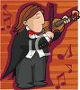 Man Playing the Violin in an Orchestra clipart
