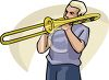 Man Playing a Trombone clipart