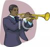 African American Man Playing a Trumpet clipart