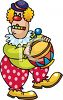Funny Clown Playing a Drum clipart