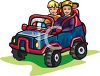 Kids Playing in an Electric Car clipart