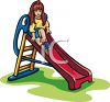 Little Girl on a Slide clipart